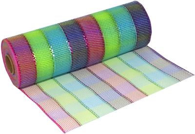Eleganza Deco Mesh Colourful Check 25cm x 9.1m (10yds) Pattern No.269 - Organza / Fabric