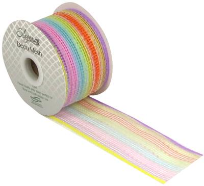 Eleganza Deco Mesh Pastel Rainbow 63mm x 10m Pattern No.270 - Organza / Fabric