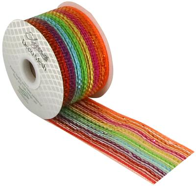 Eleganza Deco Mesh Metallic Rainbow 63mm x 10m Pattern No.271 - Organza / Fabric