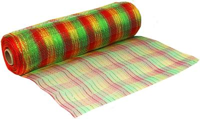 Deco Mesh Metallic Red-Green-Gold 25cm x 9.1m (10yds) Pattern No.272 - Organza / Fabric