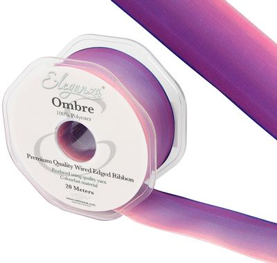 Eleganza Wired Edge Ombre Ribbon 38mm x 20m Tone No.292 - Ribbons