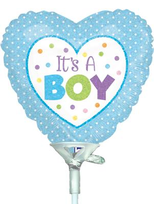 4inch Baby Boy Dots Holographic - Foil Balloons