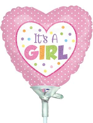 4inch Baby Girl Dots Holographic - Foil Balloons