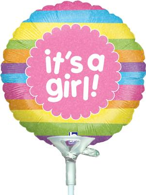 4inch It's A Girl Raindow Stripes Holographic - Foil Balloons