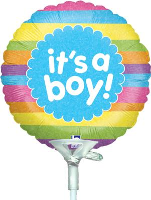 4inch It's A Boy Raindow Stripes Holographic - Foil Balloons
