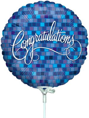 Betallic 9inch 2-S Congrats Blue Squares (Flat) - Foil Balloons
