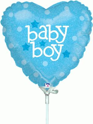 9inch Baby Boy Heart Holographic (Pre Inflated) - Foil Balloons