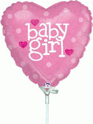 9inch Baby Girl Heart Holographic (Pre Inflated) - Foil Balloons