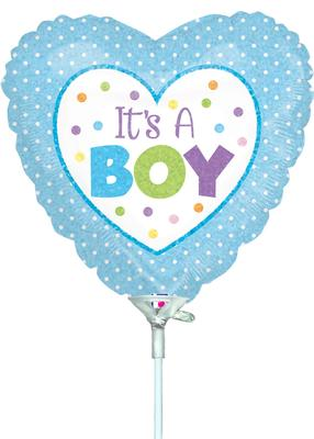 9inch Baby Boy Dots Holographic Pre-Inflated - Foil Balloons
