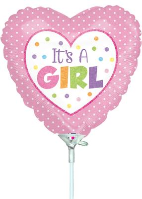 9inch Baby Girl Dots Holographic (Pre Inflated) - Foil Balloons