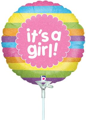 9inch It's A Girl Raindow Stripes Holographic Inflated - Foil Balloons