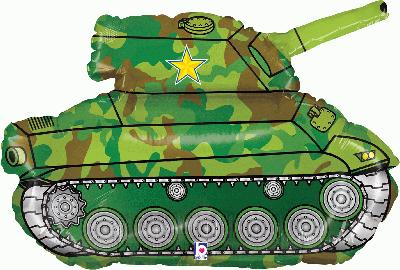 30inch / 76.2cm Army Tank Packaged - Foil Balloons