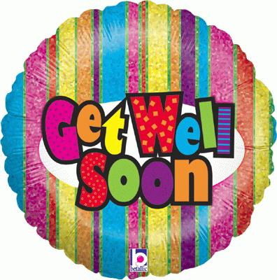 Get Well Stripes Holographic - Foil Balloons