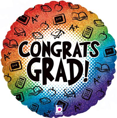 Betallic 18inch Congrats Grad Rainbow Holographic - Foil Balloons