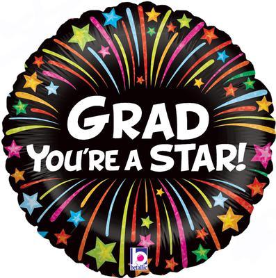 Betallic 18inch Grad Bursting Stars Holographic - Foil Balloons