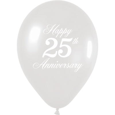 1-Sided 25th Anniversary - Pearl Silver - Latex Balloons