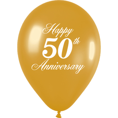 1-Sided 50th Anniversary - Metallic Gold - Latex Balloons