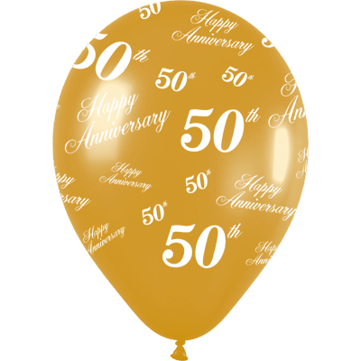 All Over 50th Anniversary - Metallic Gold - Latex Balloons