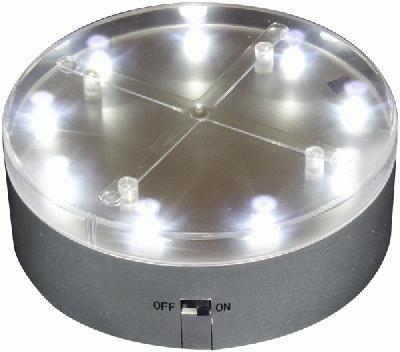 E-Mini-Luminator 4 inch Diameter Silver Base 9 White Lights - L.E.D Lights