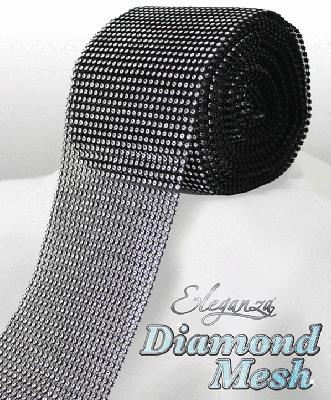 Eleganza Diamond Mesh 12cm x 9m Black/Silver No.20/24 - Accessories