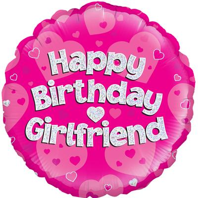 Oaktree Happy Birthday Girlfriend Holographic - Foil Balloons