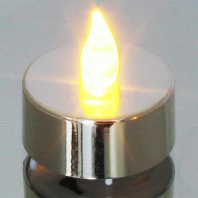 Metallic Silver Tea Light - L.E.D Lights