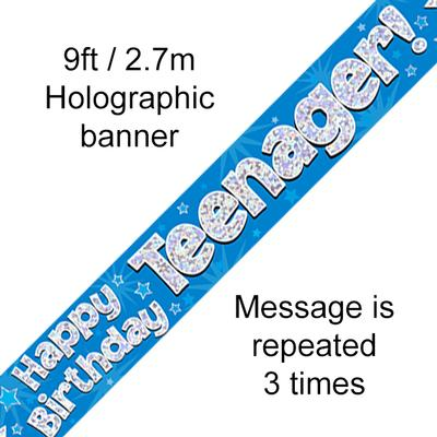Happy Birthday Teenager Holographic 9ft Banner - Banners & Bunting