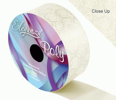 Eleganza Poly 50mm x 50m Elegant Rose Print Ivory - Ribbons