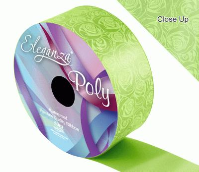 Eleganza Poly 50mm x 50m Elegant Rose Print Lime Green - Ribbons