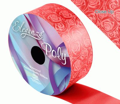 Eleganza Poly 50mm x 50m Elegant Rose Print Red - Ribbons